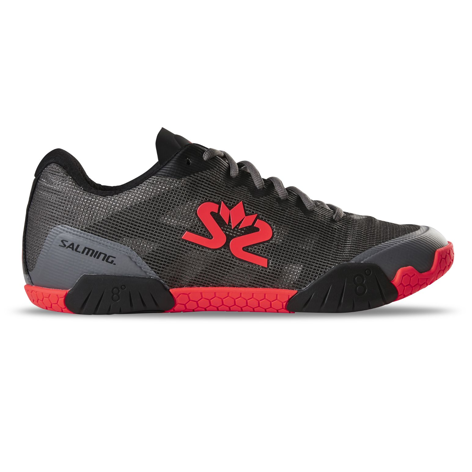 Salming Hawk Shoe Men GunMetal/Red 11 UK - 46 2/3 EUR - 30 cm