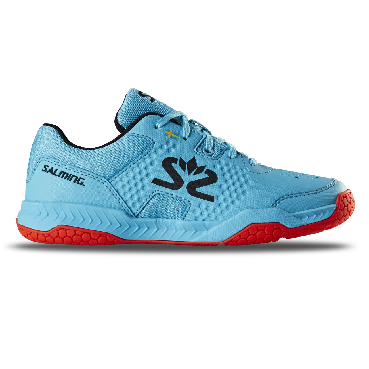 Salming Hawk Court Shoe Junior Blue/Red 4 UK - 36 EUR - 23,5 cm