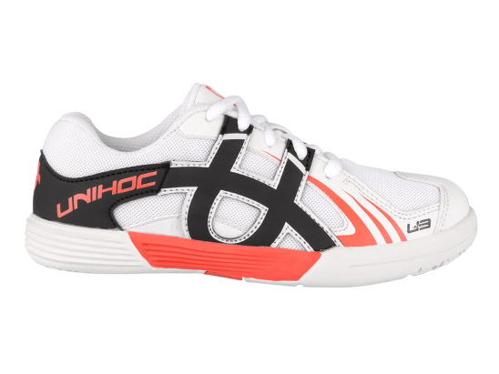 UNIHOC U3 JUNIOR UNISEX WHITE/NEON RED  36