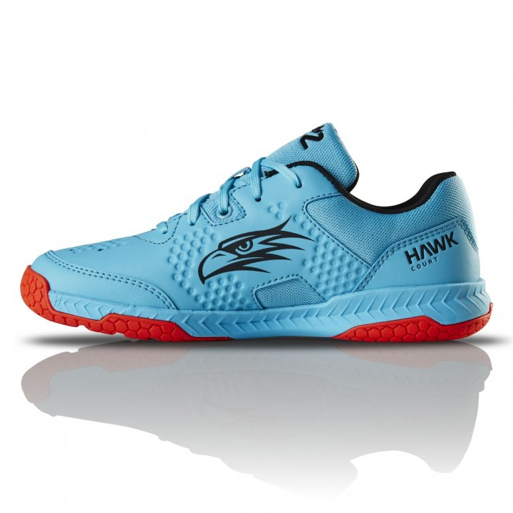 Salming Hawk Court Shoe Junior Blue/Red 3,5 UK - 35 EUR - 23 cm
